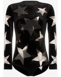 Alexia Hentsch - Cutout Star Velvet Bodysuit - Lyst