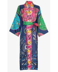 Rianna + Nina - Greek Kimono 11 Print Silk Robe - Lyst