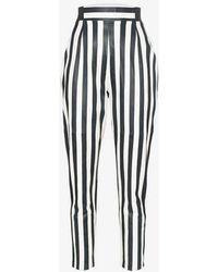 SKIIM Elli Striped High-waisted Leather Pants