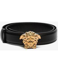 Versace - Black Medusa Leather Buckle Belt - Lyst