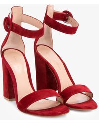 Gianvito Rossi - Red Suede Versilia 100 Sandals - Lyst