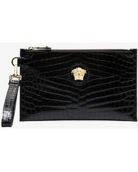 Versace - Black Medusa Leather Clutch Bag - Lyst