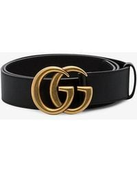 df5427e6fde Gucci Leather Belt With Double G Buckle in Black - Lyst