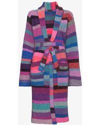 The Elder Statesman - Knitted Stripe Belted Robe - Lyst