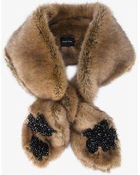 Beige Faux-Fur Beaded Double Bow Scarf Simone Rocha rEf8j