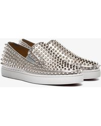 Christian Louboutin - Metallic Roller Boat Low Top Trainers - Lyst