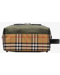 81fcf7ef87b7 Burberry - Vintage Check And Khaki Nylon Washbag - Lyst