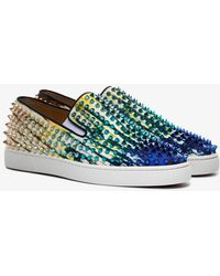 Christian Louboutin - Blue Roller Boat Spike Low Top Trainers - Lyst