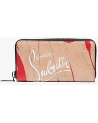 Christian Louboutin - Brown Panettone Hand-torn Paper Print Leather Wallet - Lyst