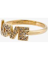 Natasha Zinko - Yellow And Gold 18kt Diamond 'love' Ring, Size: H 1/2 - Lyst