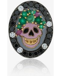 Holly Dyment - Gold And Emerald Small Skull Pendant Necklace - Lyst