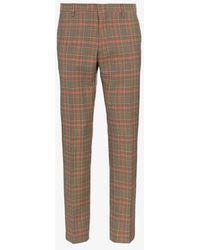 Dries Van Noten - Check Pleat Front Trousers - Lyst