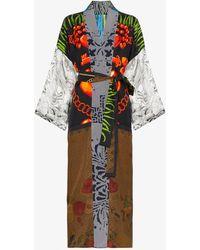 Rianna + Nina - Multi Bead Clock Print Silk Kimono Robe - Lyst