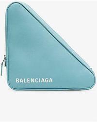 Balenciaga - Blue Triangle Leather Clutch - Lyst