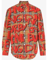 Burberry - Bright Red Graffiti Print Check Shirt - Lyst