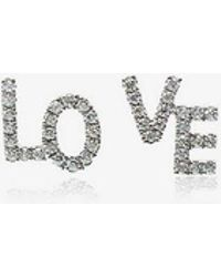 Rosa De La Cruz - White Gold And Diamond Love Studs - Lyst