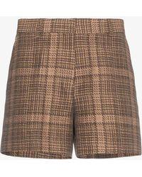 Dries Van Noten - Check Cotton Linen-blend Shorts - Lyst