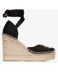 Gucci - Black Lilibeth 85 Raffia Sandals - Lyst
