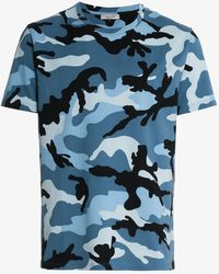 Valentino - Blue Camouflage Print Short Sleeve Cotton T Shirt - Lyst
