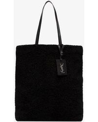 899ab74ddb77 Lyst - Saint Laurent Shearling Tote Bag in Black