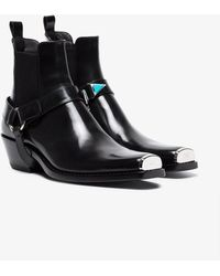 CALVIN KLEIN 205W39NYC - Black Western Harness Leather Boots - Lyst