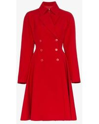 Alaïa - Red Princess Double Breasted Coat - Lyst
