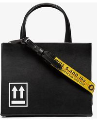 Off-White c/o Virgil Abloh - Black Box Small Printed Leather Tote - Lyst