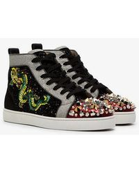 2dbed6335198 Christian Louboutin - Multi Textured Sequin Embellished Trainers - Lyst