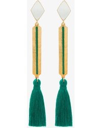 Marte Frisnes - Gold Metallic And Green Izzy Sterling Silver Tassel Drop Earrings - Lyst