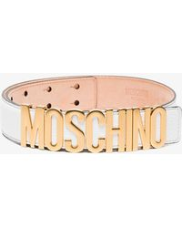 Moschino - White Leather Belt With Gold Logo - Lyst