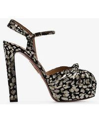 Aquazzura - Black Gold And Silver Metallic Evita Jacquard 130 Leather Platform Sandals - Lyst