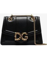0d8305f0fc8a Dolce   Gabbana - Black Dg Embellished Leather Shoulder Bag - Lyst