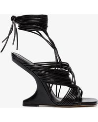 Rick Owens - Black 110 Leather Sandals With Curved Heel - Lyst