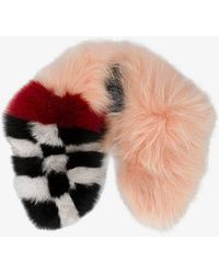 Mr & Mrs Italy - Pink Checkerboard Fur Collar - Lyst