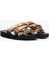 Suicoke - Brown And White Cow Print Calf Hair And Sheep Skin Sandals - Lyst