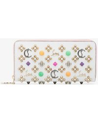 Christian Louboutin - White And Pink Panettone Stud Embellished Leather Wallet - Lyst
