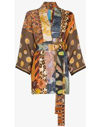 Rianna + Nina - Short Multi Animal Star Print Silk Kimono Robe - Lyst