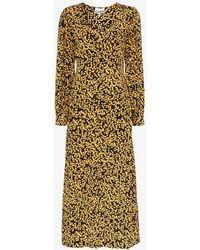 07c1e943b18f Isabel Marant Ulia Leopard-print Velvet Midi Dress - Lyst