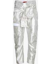 Ronald Van Der Kemp - Silver Silk Cargo Trousers With Waist Tie - Lyst