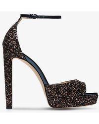 Jimmy Choo - Pattie 130 Glitter Platform Sandals - Lyst