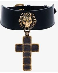 Gucci - Enamelled Cross Pendant Leather Choker - Lyst