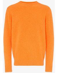 The Elder Statesman - Orange Cashmere Crew Neck Sweater - Lyst