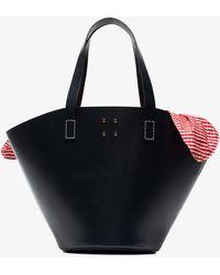 Trademark - Blue Large Leather Gingham Basket Bag - Lyst