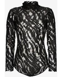 Alexia Hentsch - High Neck Metallic Tiger Stripe Mesh Bodysuit - Lyst