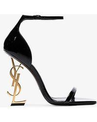 Saint Laurent - Ysl Logo Heel Sandals - Lyst