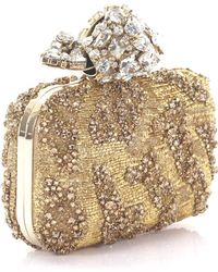 Jimmy Choo - Clutch Cloud Embroidered Fabric With Crystal Ornament Gold - Lyst