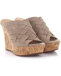 Ugg | Wedge Sandals Marta Plateau Suede Taupe | Lyst