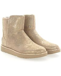 UGG - Stiefeletten Boots Abree Mini Veloursleder Gold Finished - Lyst