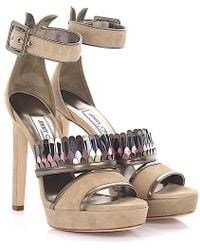 Jimmy Choo - Sandals Kathleen 130 Plateau Suede Beige Leather Gold Metallic Fringes - Lyst
