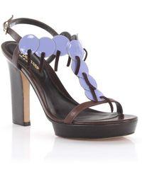 Platform Sandals smooth leather Stitching purple Sergio Rossi sWQd4